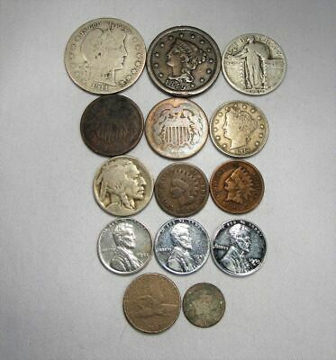 Vintage US Coin Lot 14pc Large Indian Steel Liberty Silver Barber Standing C672