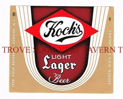 1960s Koch's Light Lager Beer 12oz Label Tavern Trove Dunkirk NY