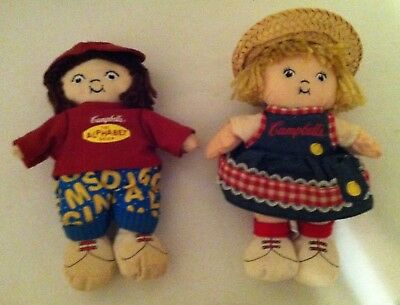 2 Campbell Soup Kid Cloth Dolls- 8 inch- year 2000