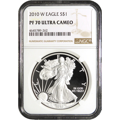 2010-W Proof $1 American Silver Eagle NGC PF70UC (Brown Label)