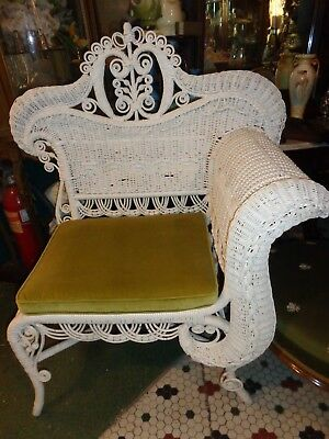 Antique Victorian White Wicker Photographers Chair Unusual Old Estate