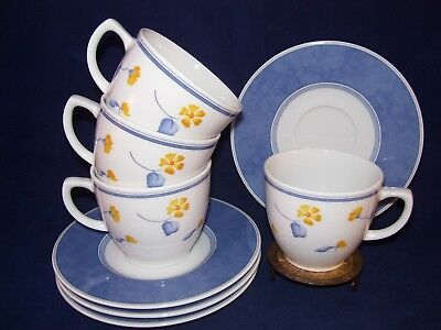 Mitterteich Yellow Blue Flowers Porcelain 4 Cup & Saucer Sets Bavaria Germany A