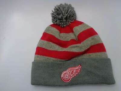 e52946eff26 Detroit Red Wings Mitchell   Ness NHL Knit Striped Cuffed Pom Hat Cap Toque  Bean
