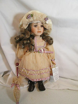"Geppedo Porcelain Doll 12"" Lace Dress Hat Umbrella Parasol IOB 12C969"