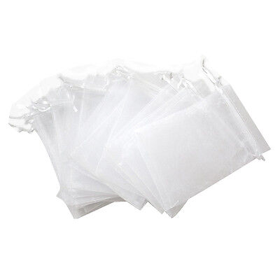Set of 25 large organza bags white - Pockets - Drawstring Cord - for Wedding hot