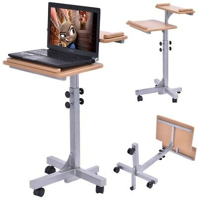 Wooden Laptop Table PC Computer Desk Holder Top Stand Study Rolling Workstation