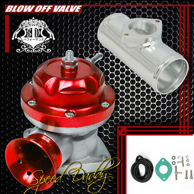 """Universal Billet Anodized Type-Rs Turbo Blow Off Valve Bov+2.5"""" Flange Pipe Red"""