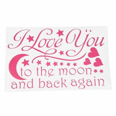 """saying """"I Love You to the Moon and Back Again"""" PVC Wall Decals Pink WS L6P3"""