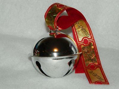 Santas Silver Sleigh Bell Ornament Believe Gold Ticket Ribbon Xmas Collectible