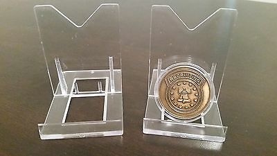 """~15 Premium 2-3//8/"""" Display Stand Easel Challenge Coin Air-Tite Capsules"""