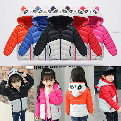 Panda Kid Boy Girl Down Puffer Jacket Ultralight Short Parka Coat Warm Outerwear