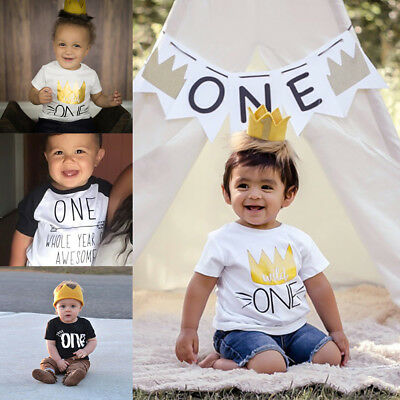 Baby Boy Girls 1st First Birthday Party Crown T-shirt Tops Cake Smash Outfit