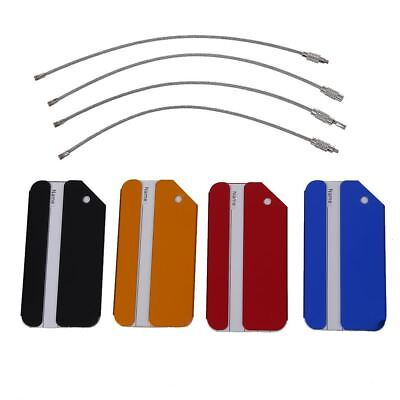 4X Aluminium Metal Travel Luggage Baggage Suitcase Address Tags Label Holde U6P7