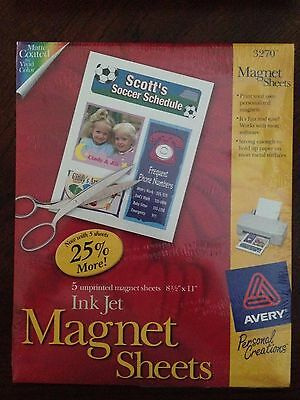Avery Printable Inkjet Magnet Sheets 8-1/2 x 11 White / 5 Sheets each Pack / NEW
