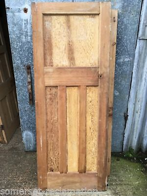 "30x77 1/4"" Reclaimed 1930s Stripped Pitch Pine Four Panel 1 Over 3 Internal Door"