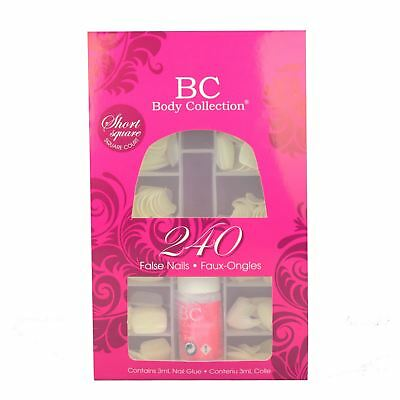 Body Collection Short False Nail Set Stick On Square Whole Nail 240 Pack