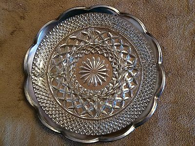Cut Glass and Silver Serving Dish