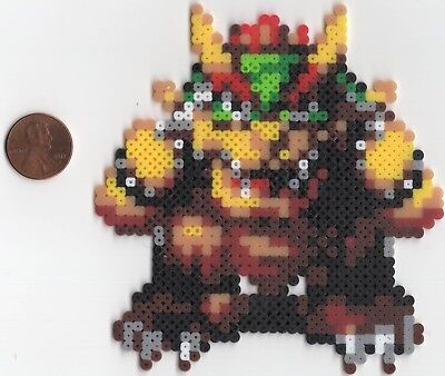 Bowser Super Mario Bros Mini Bead Sprite Perler Hama Artkal Pixel Art Icon Retro
