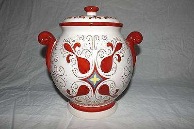 Vintage Nonni's Ceremic Biscotti  Cookie Jar With Lid Red And White 11'' Tall