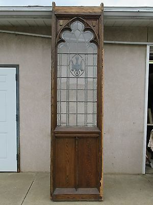 XL Antique Victorian Gothic Tiger Oak  Church Lead Glass Window Door Partition A