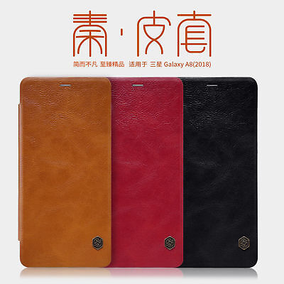 Genuine Nillkin Business PU Leather Flip Case Cover For Samsung Galaxy A8 2018 +