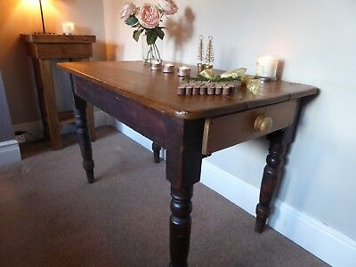 Antique Victorian Old Pine / 3 Plank Kitchen Table /Farmhouse Side Table