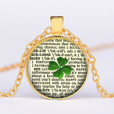 Lucky Words Tibet Gold Glass dome Necklace chain Pendant Wholesale Jewelry