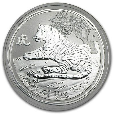 2010 Australia Year of the Tiger 1 Ounce .999 Silver Coin from Sealed Roll
