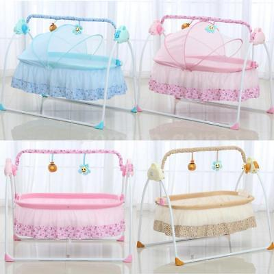 Electric Baby Bassinet Cradle Swing Rocking Music Remoter Sleeping Bed Crib V7F3