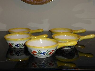 5 Henriot Quimper Bowl Dishes W Handle Made For Rotisserie Normande Restaurant