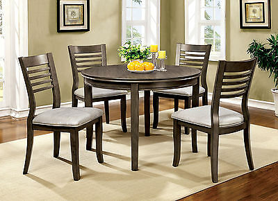 Dwight-Round Dining Room 5pc Gray Finish Padded Leatherette Wooden Furniture Set