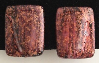 Vintage Hand Painted Pink Black Rectangular Stone Clip-On Style Fashion Earrings