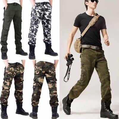 Mens Urban Camo Cargo Pants Multi-pocket Big Trousers Cotton Fit Sports Baggy