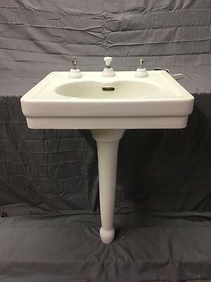 Antique Ceramic White Peg Leg Bath Sink Standard Tiffin Integral Spout 793-17E