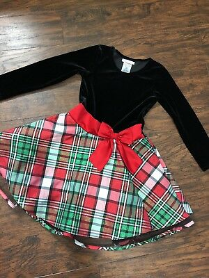 e5d3cb16b616 Bonnie Jean Girls Christmas Holiday Party Dress 6 5/6 Red Green & Plaid  Twirl