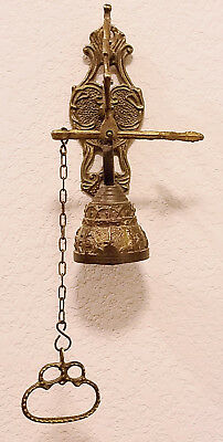 Vintage Brass Chain Pull Door Bell Doorbell Ornate