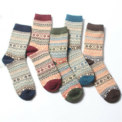 22a2afcf336e6 5 Pairs Mens Vintage Fall Winter Soft Warm Thick Knit Wool Crew Socks 4  Styles