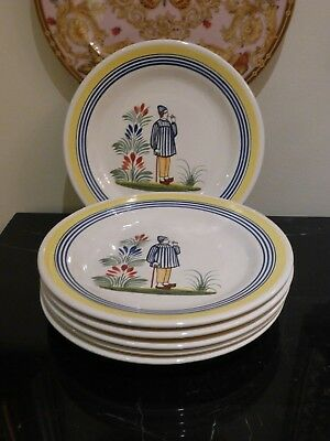6 Henriot Quimper Pottery Dinner Plates Made For Rotisserie Normande Restaurant