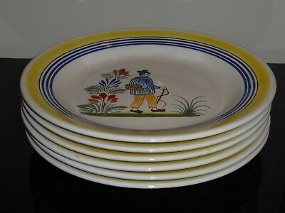 Henriot Quimper Pottery Dinner Plates Made For Rotisserie Normande Restaurant
