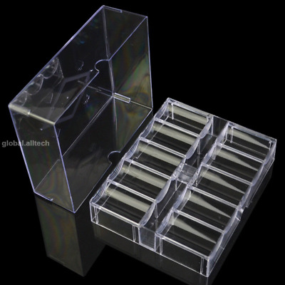 Poker Chips Box 200PCS Capacity Acrylic Chips Storage Container Tray Chip Case