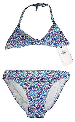 New Girls Bikini Set 11-12 Years Halter Neck Top & Briefs Butterfly Print M&S Ki
