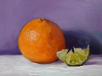 Oil Painting canvas Orange and lime slice. Still Life Original. J Smith