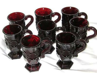 8 Irish Coffee Mugs, Cups Tall Footed Ruby Red Glass Avon Cape Cod Vintage NIB!!