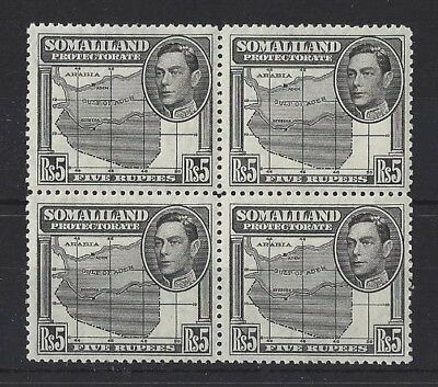 SOMALILAND..KING GEORGE VI.(1936-52).Rs5 X BLOCK  OF 4..SG104...TIDY..MNH.(FN05)