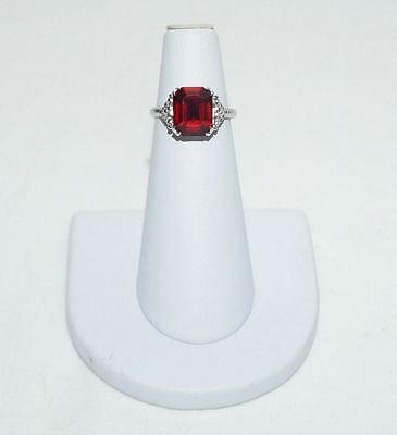 Vintage Uncas Ruby Red Ring Silver Tone Signed Size 6