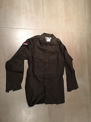 FATIGUE SHIRT  ,OLIVE,NEW OLD STOCK, LARGE,dutch , 100%cotton