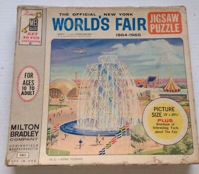 1964 1965 Official New York World's Fair Astral Fountain Jigsaw Puzzle, Complete
