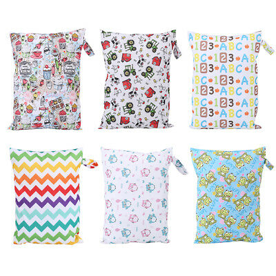 Baby Infant Waterproof Reusable Zip Wet Dry Bag Print Cloth Diaper Nappy Pouch