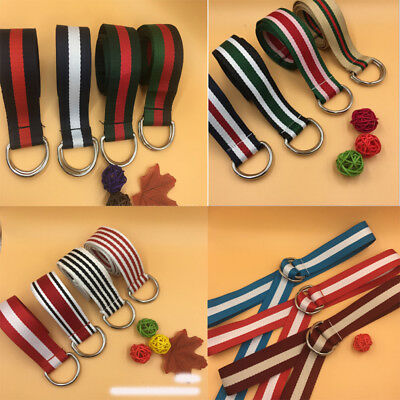 New Fashion Men Women Casual Nylon Canvas Stripes Buckle Waistband Outdoor Belts