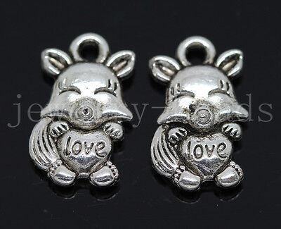 New 10/40/200pcs Antique Silver two-sided Lovely Wolf Charms Pendant DIY 16x9mm